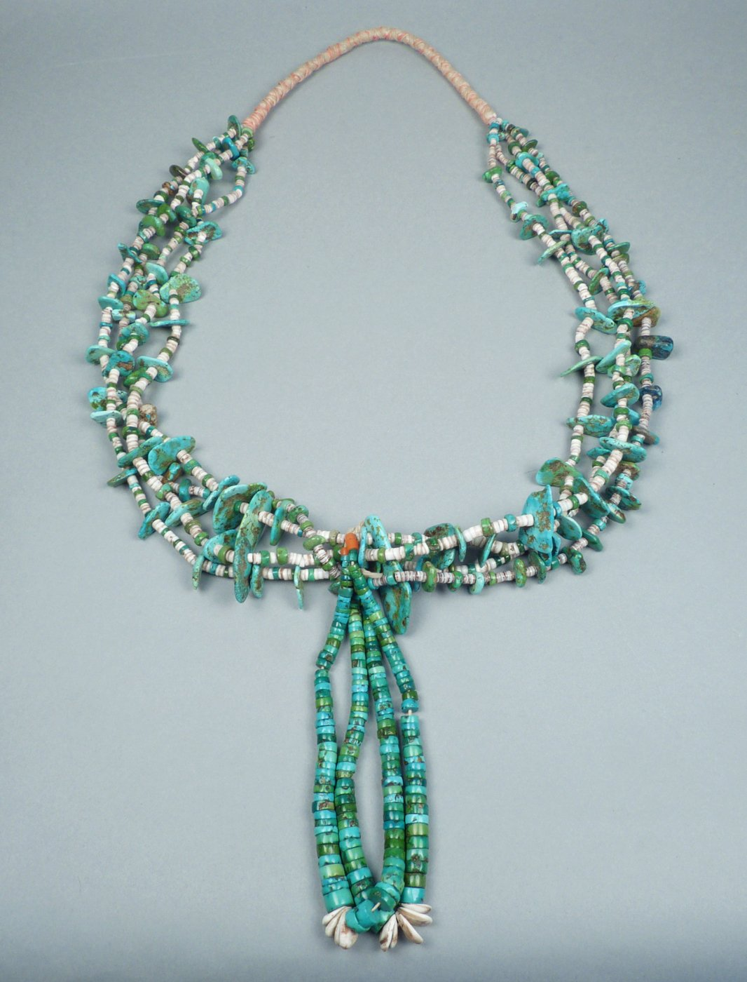 Navajo Four Strand Turquoise Tab Necklace With Joclas C