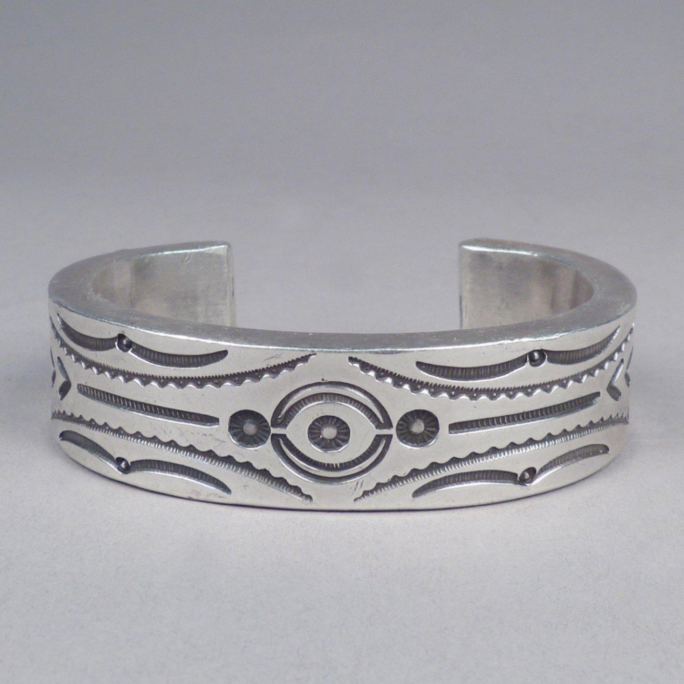 Navajo Heavy Stamped Silver Bracelet By Mark Chee C 1950 Shiprock Santa Fe