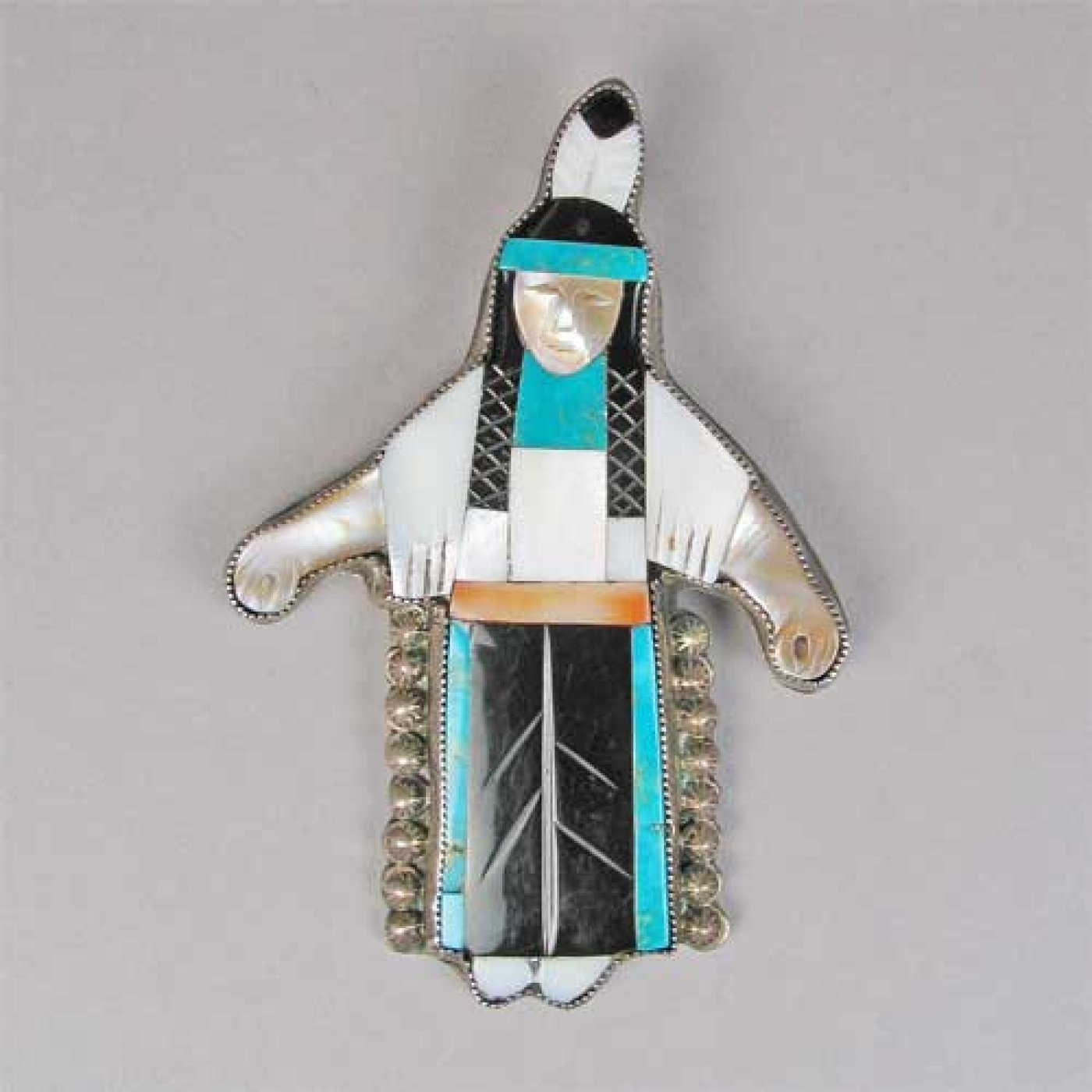 Zuni Inlay Figural Pin By Leo Poblano C 1940 Shiprock