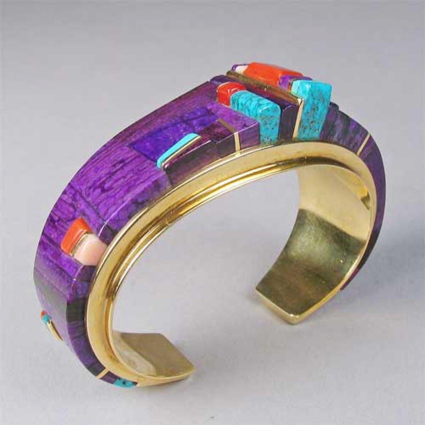 Charles Loloma 18k Gold And Sugilite Bracelet Shiprock
