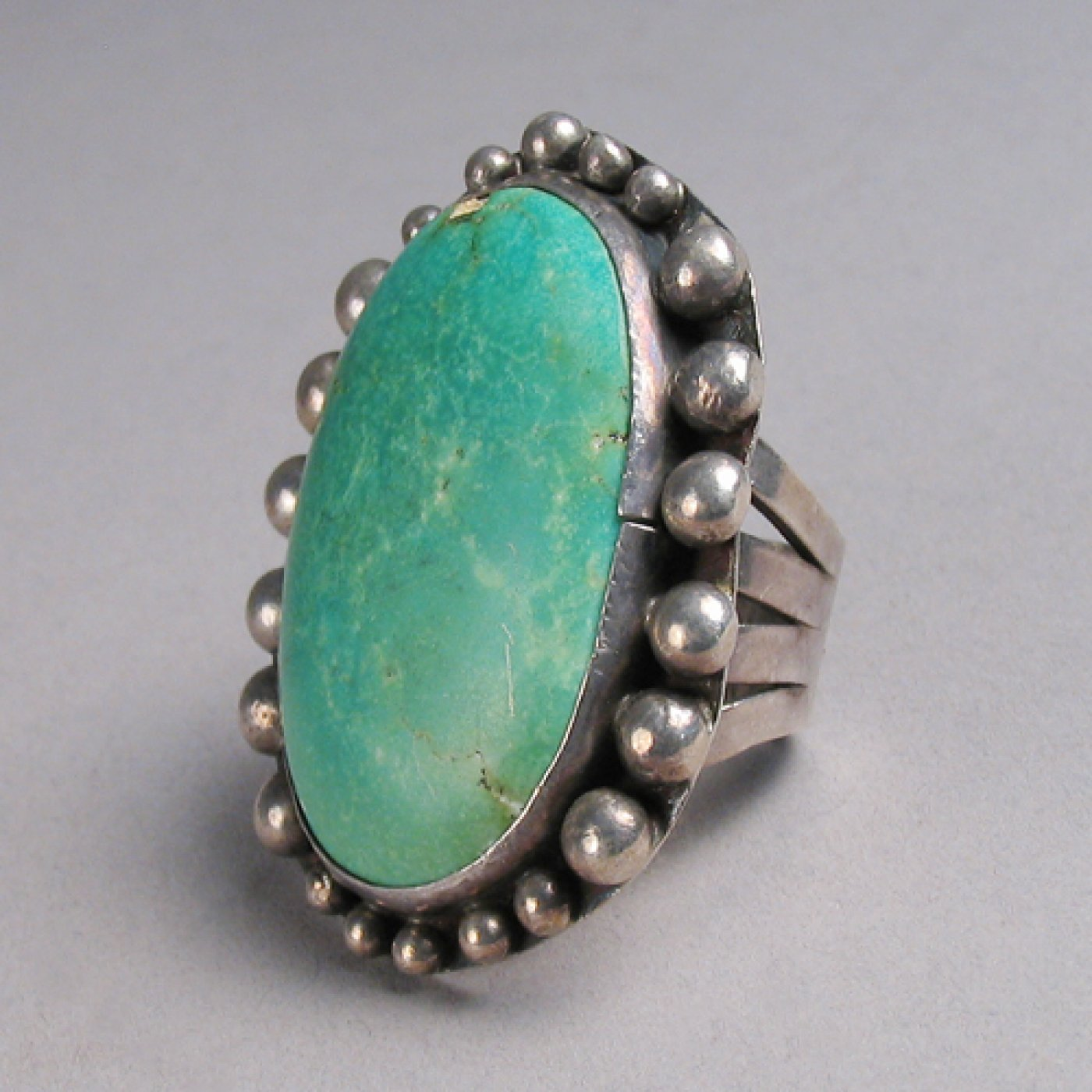 Vintage Ring With Large Oval Turquoise Stone Shiprock