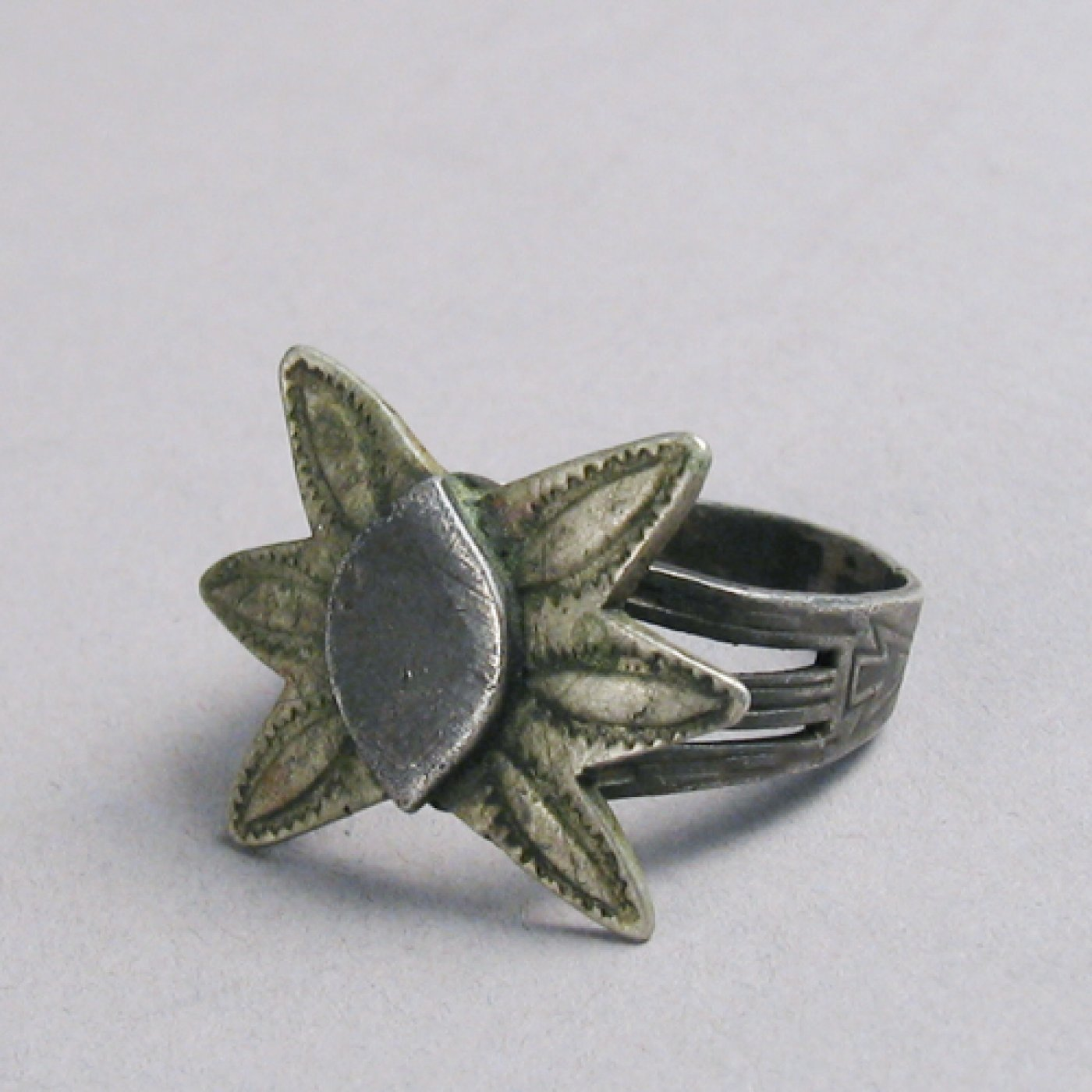 Navajo Stamped Silver Ring With Six Pointed Star C 1900
