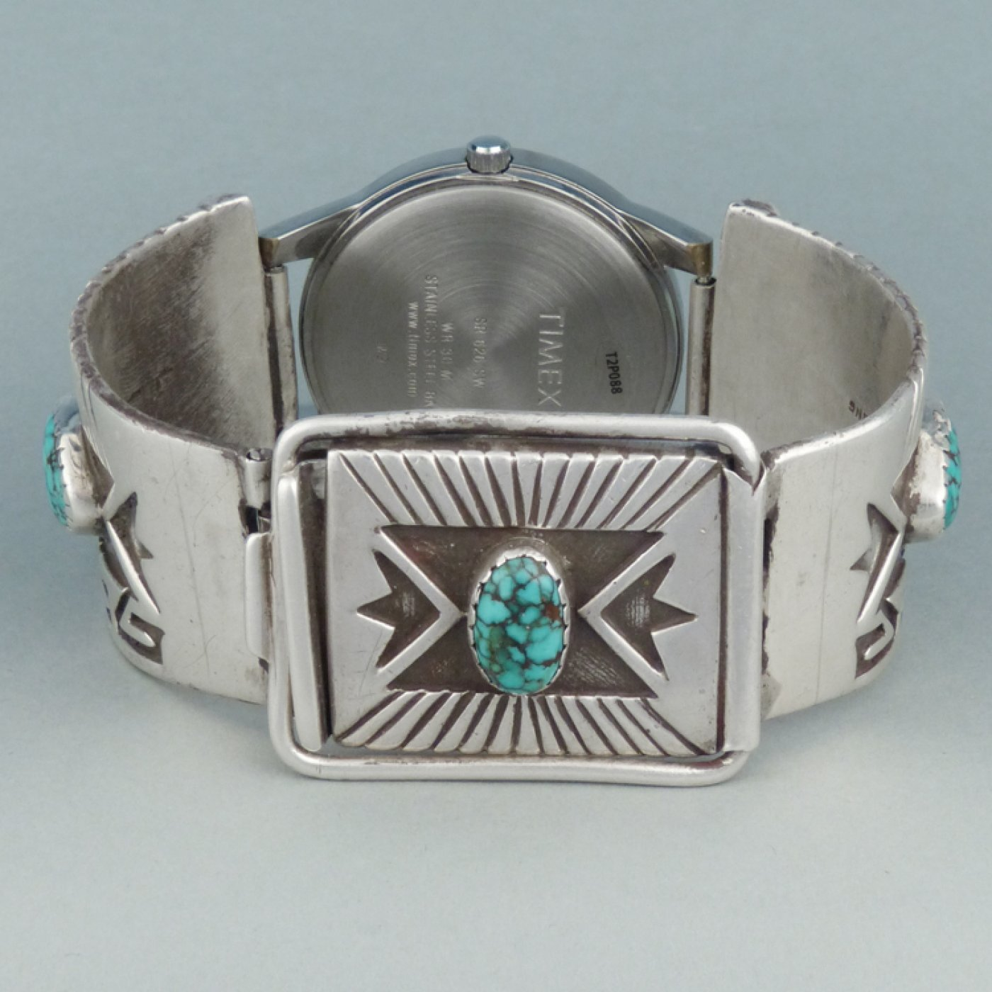 Hopi Stamped Silver And Turquoise Watch Band By Lewis