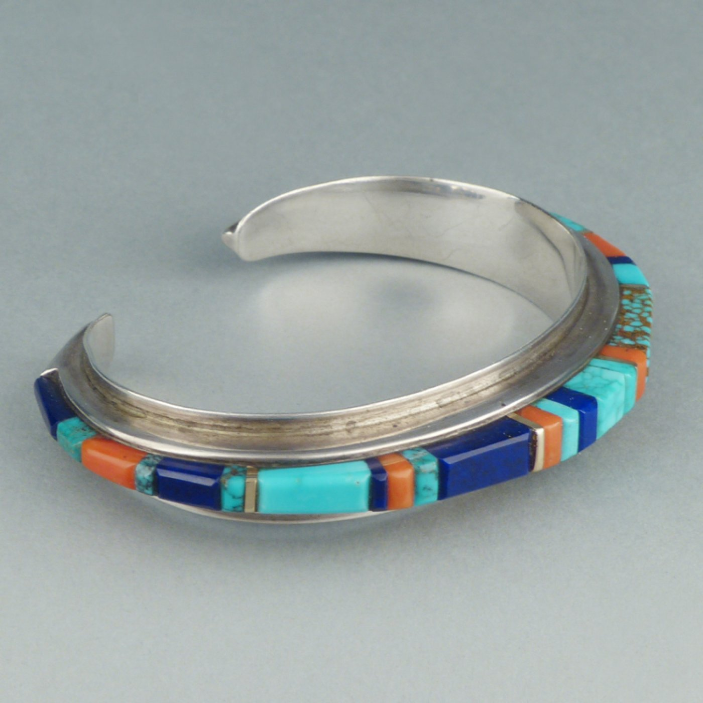 Charles Loloma Hopi Silver Bracelet With Height Inlay
