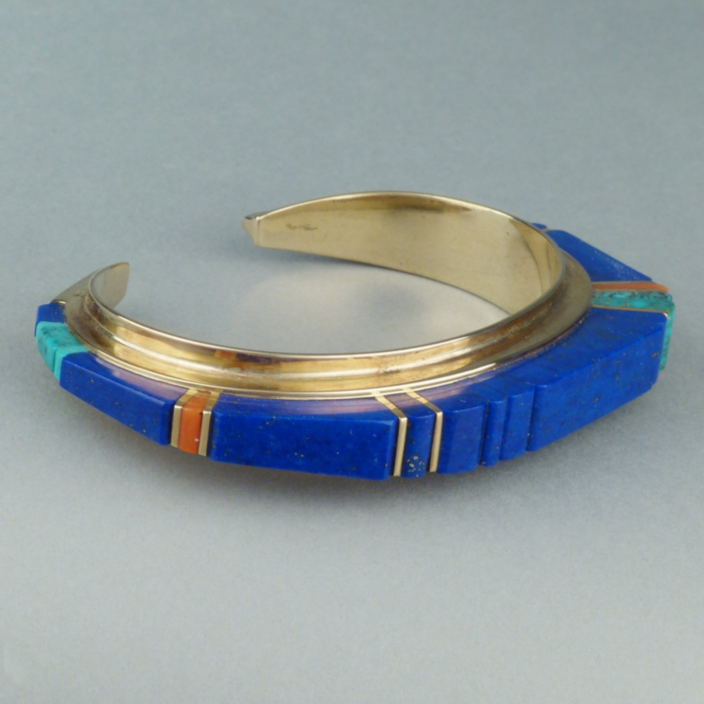 Charles Loloma Hopi 14k Gold Bracelet With Height Inlay