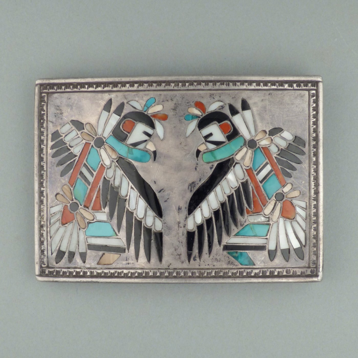 Zuni Silver Belt Buckle With Inlay By Frank Vacit C 1950