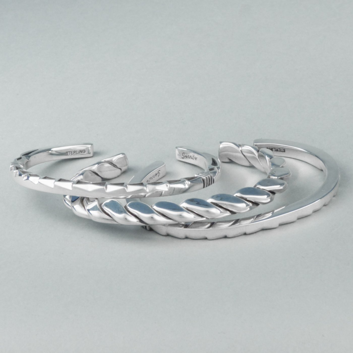 Set of Three, Stamped and Twisted Wire Silver Bracelets | Shiprock ...