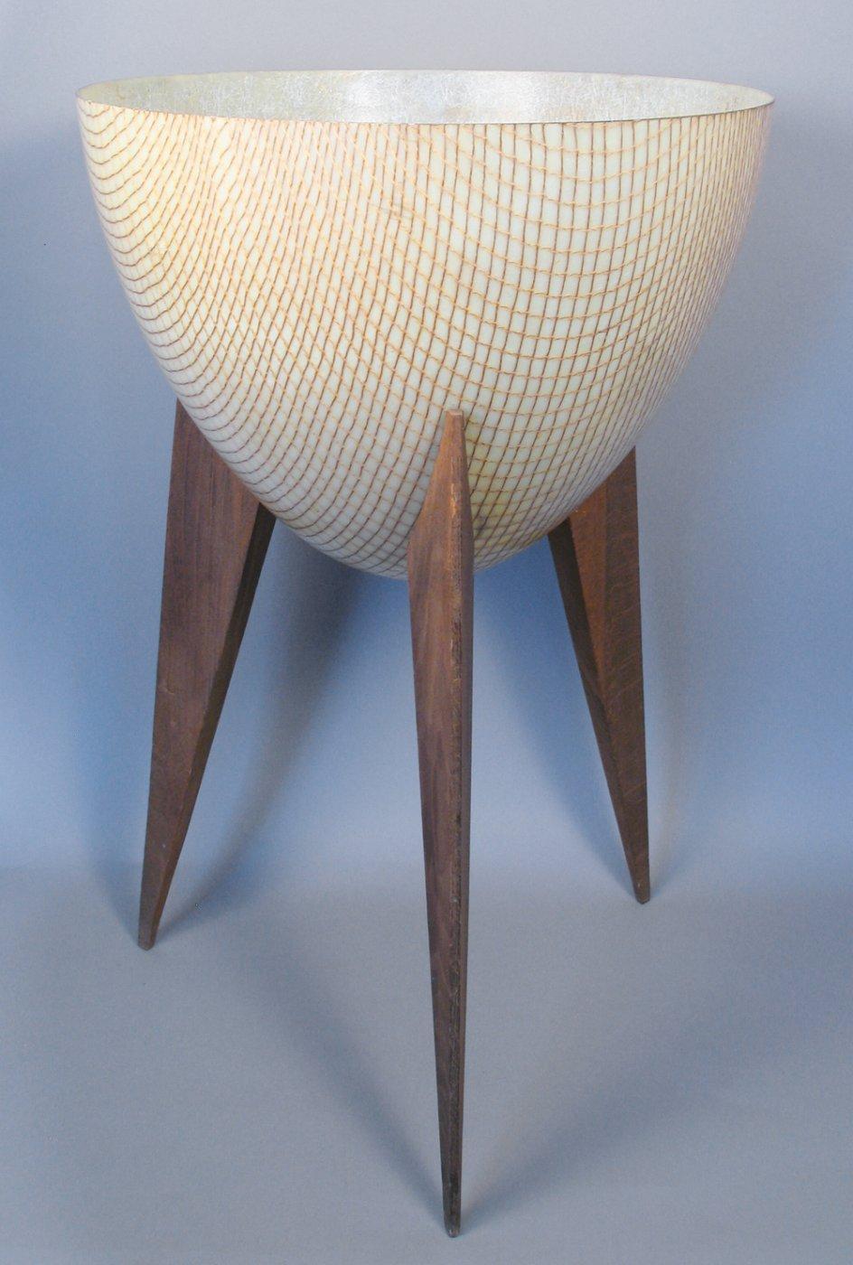 Mid Century Modern Bullet Planter With Wooden Legs C 1950 Shiprock Santa Fe